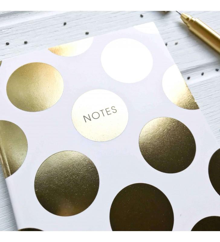 """Мини-скетчбук """"Notes"""" белый в золотой горошек"""
