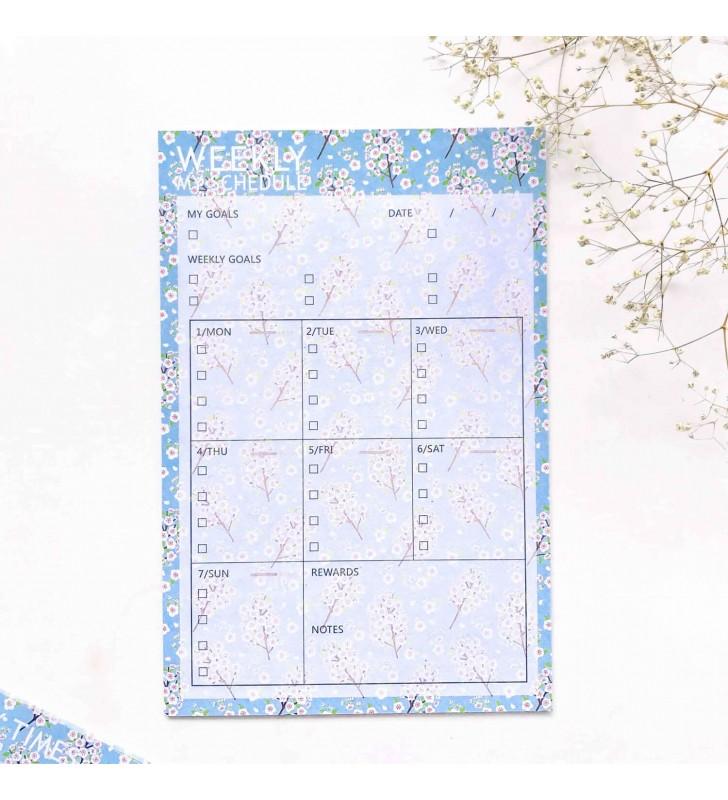 "Настольный планер ""Weekly schedule"" white flower"