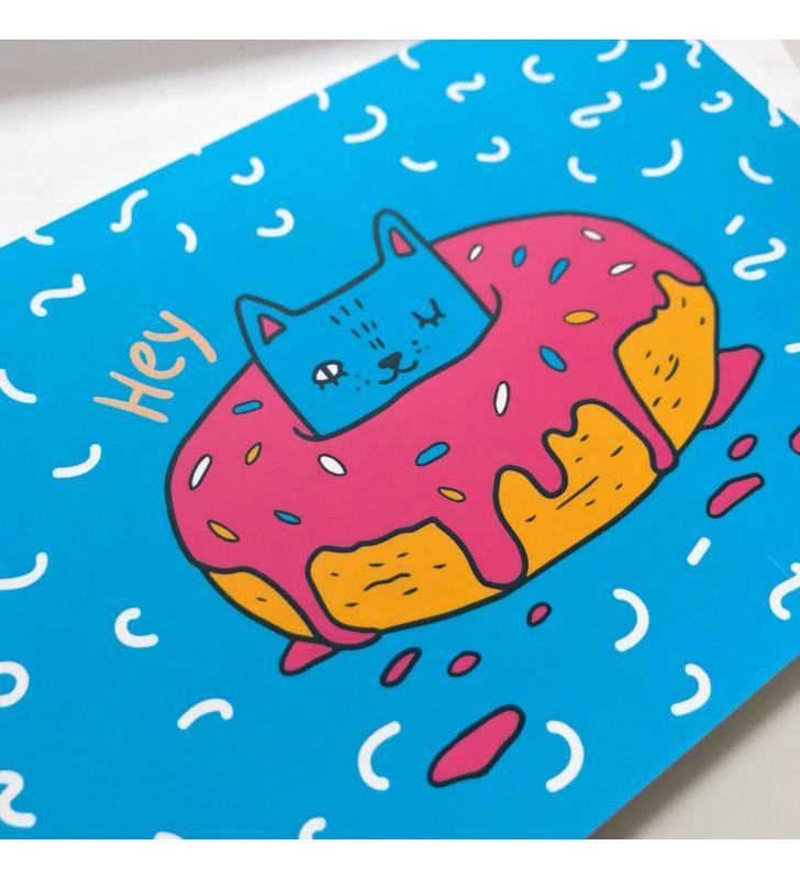 """Открытка """"Котик в пончике"""""""