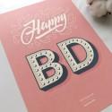 "Открытка ""Happy Birthday"" pink"