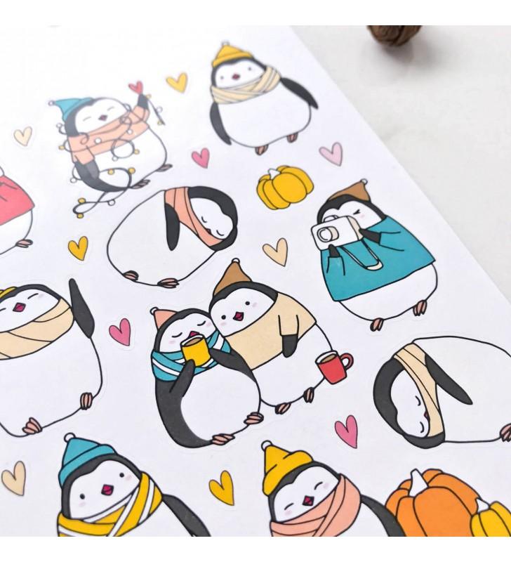 """Наклейки """"Пингвинчики и тыковки"""""""