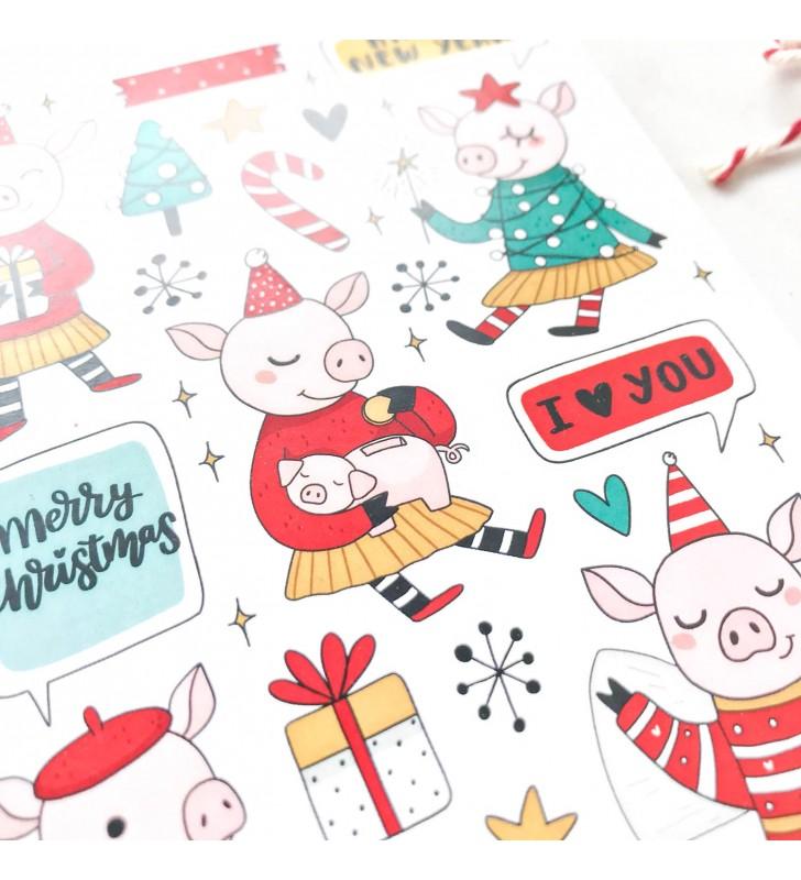 """Наклейки """"Новогодняя свинка"""""""
