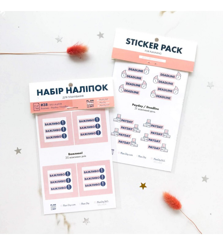 "Наклейки ""Plan the day"" Pay day  pink"