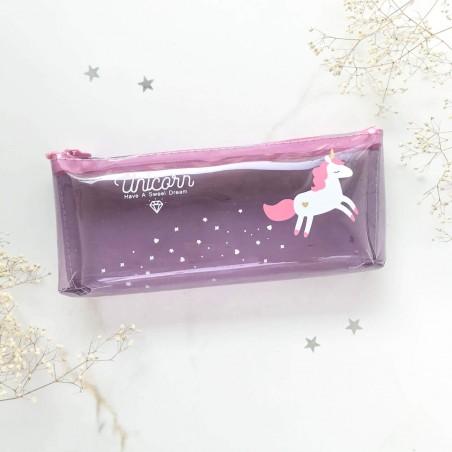 """Пенал """"Единорог"""" фиолетовый"""