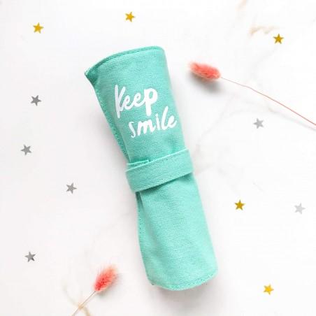 """Пенал ролл """"Keep smile"""" мятный"""