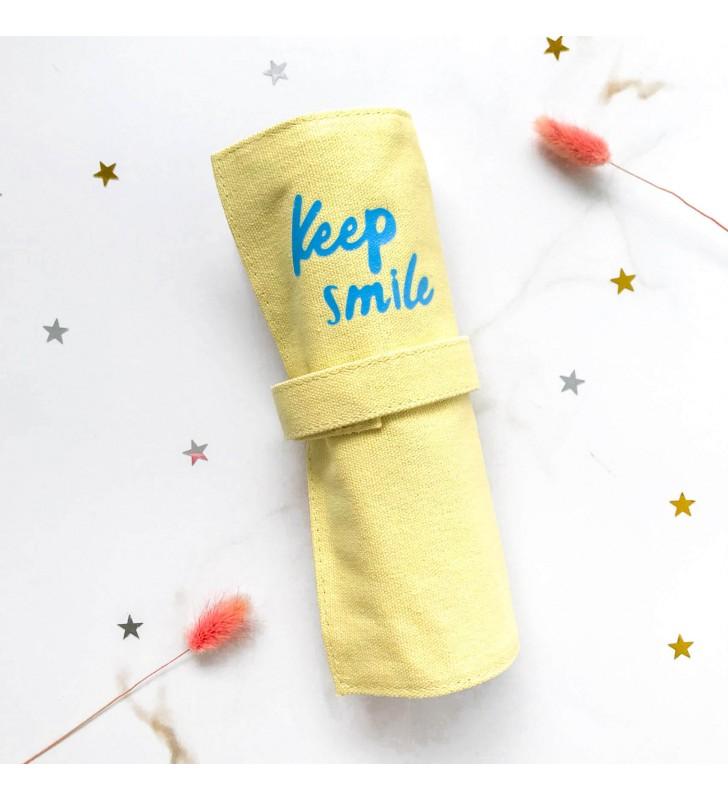 """Пенал ролл """"Keep smile"""" желтый"""
