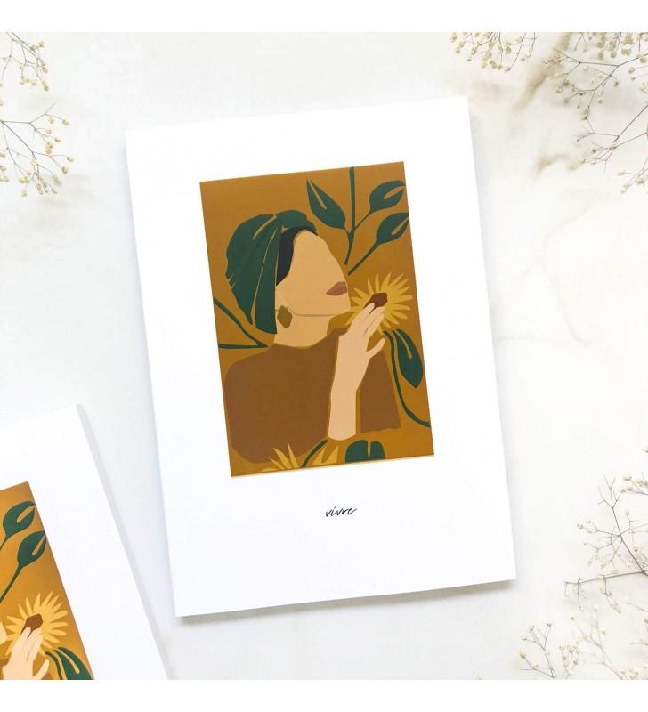 "Блокнот в точку ""Vivre"" girl with flower"