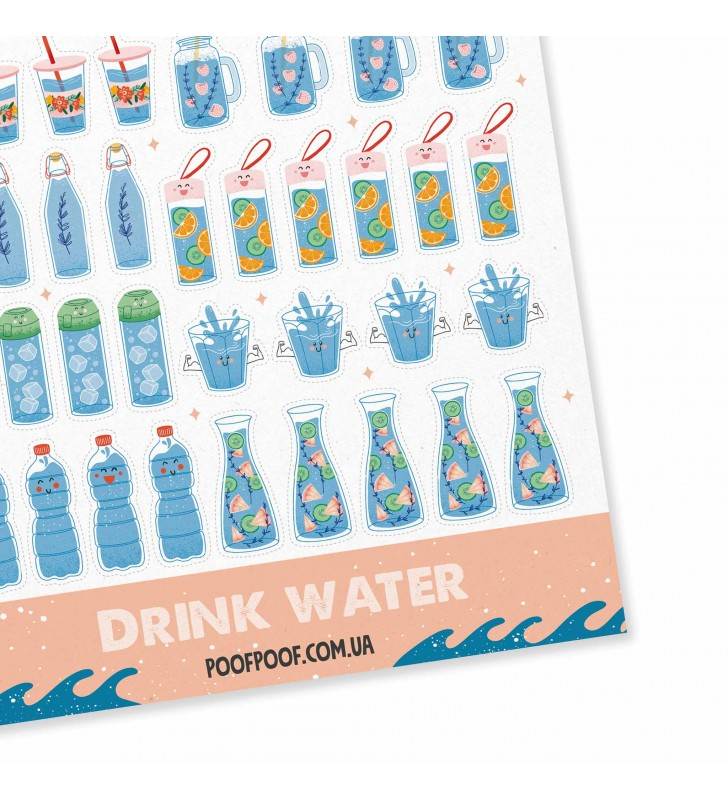 "Наклейки ""Drink water"""