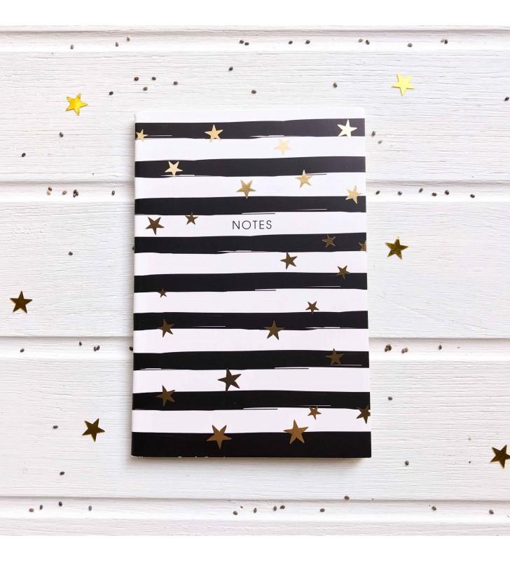 """Мини-скетчбук """"Notes"""" черно-белый со звездами"""