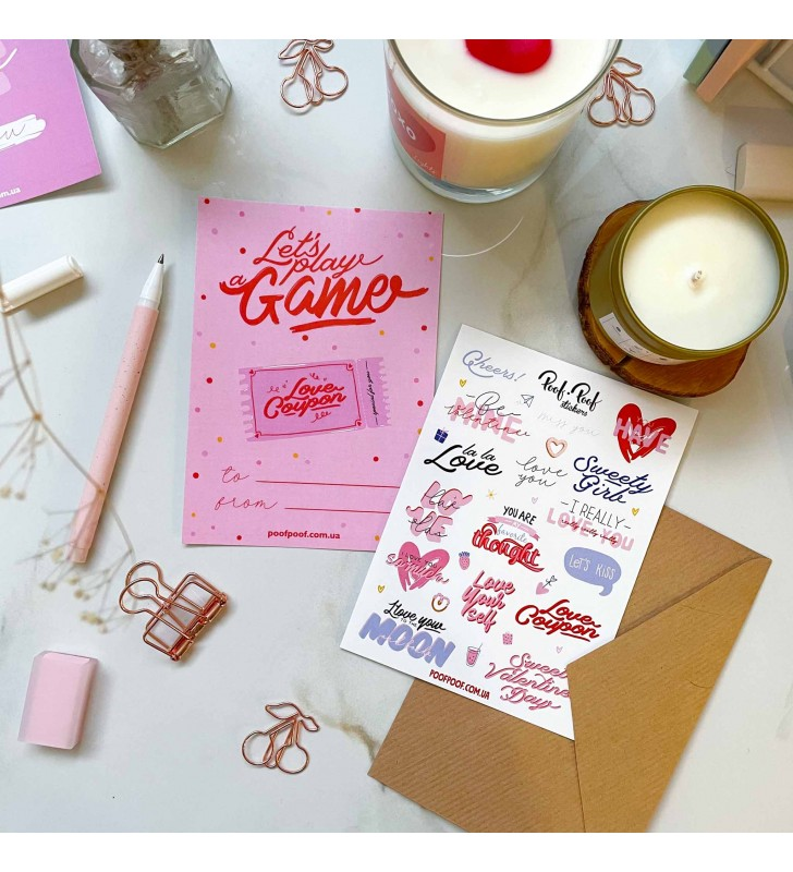 "Набор открытка + лист наклеек ""Only love"" love game"