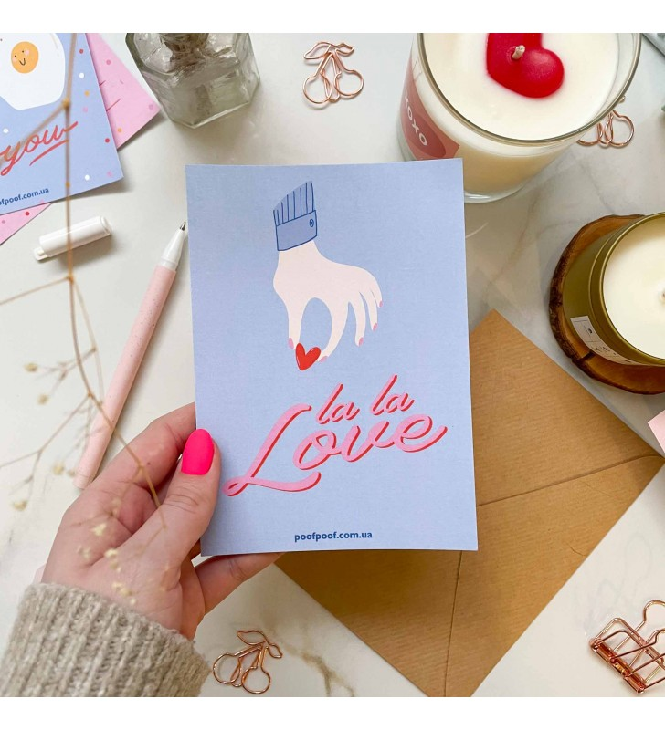 "Набор открытка + лист наклеек ""Only love"" love hand"