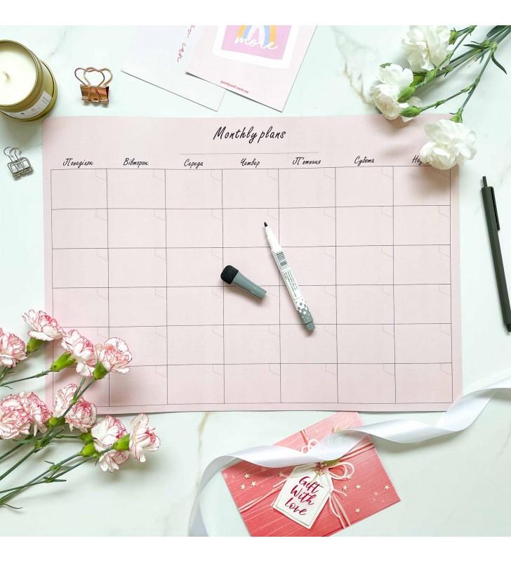 "Магнитный планер ""Montly plans"" A3 pink"