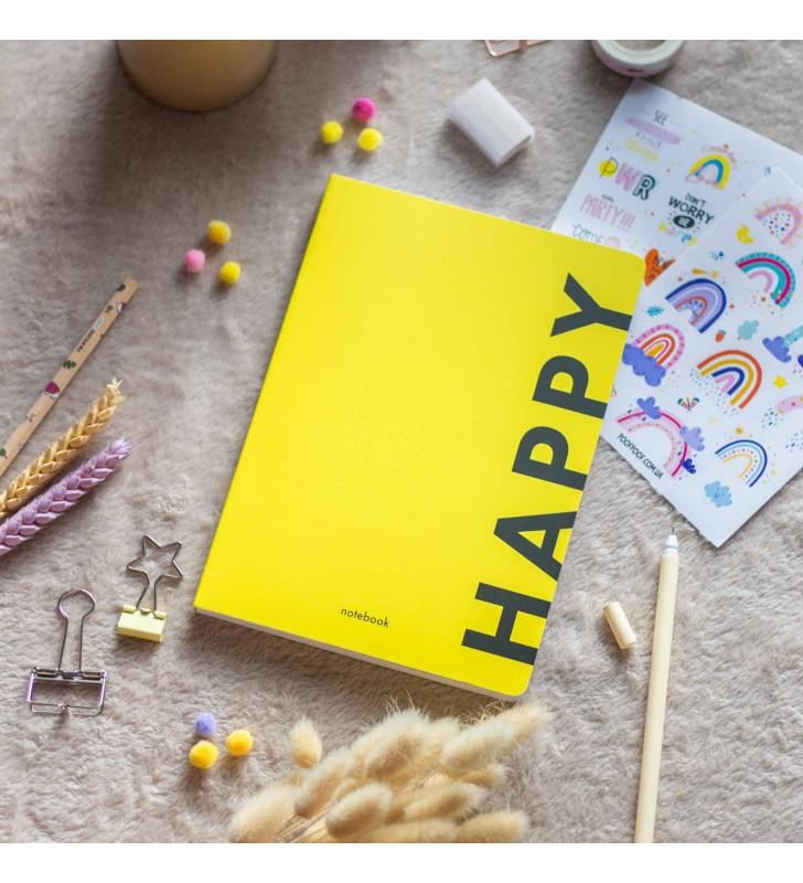 """Блокнот в клеточку """"Happy"""" yellow"""