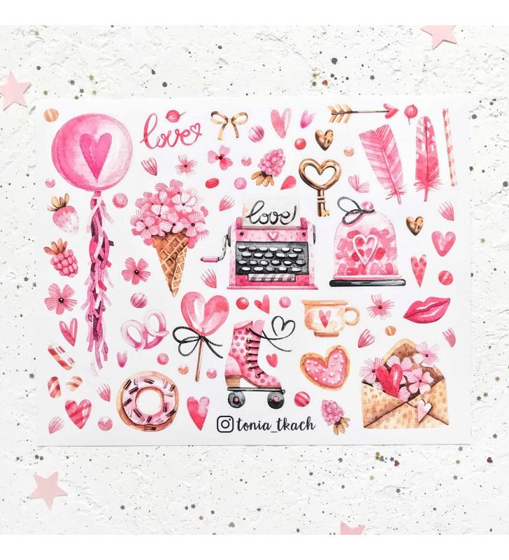 """Виниловые наклейки """"Рожеве кохання"""""""