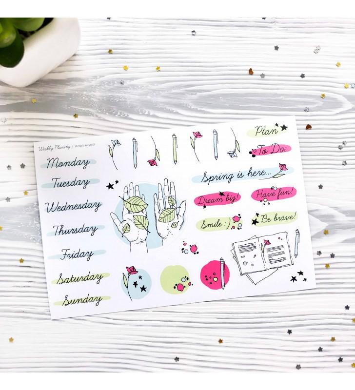 "Виниловые наклейки ""Weekly planing - leaves"""