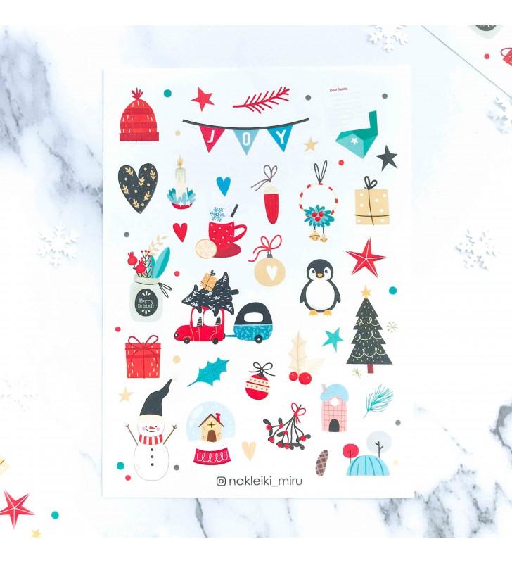 """Наклейки """"Новогодние"""" пингвин"""