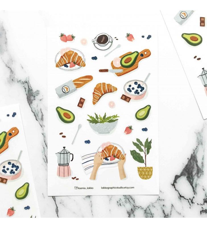 "Наклейки ""Croissants and avocado"""