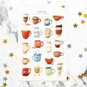 """Наклейки """"Cups with coffee and tea"""""""