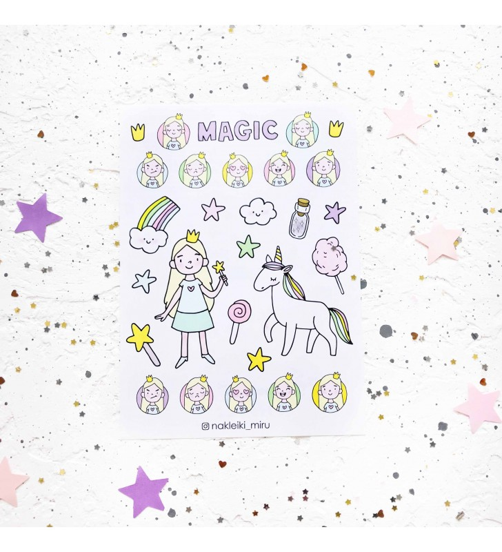 "Наклейки ""Magic unicorn with princess"""