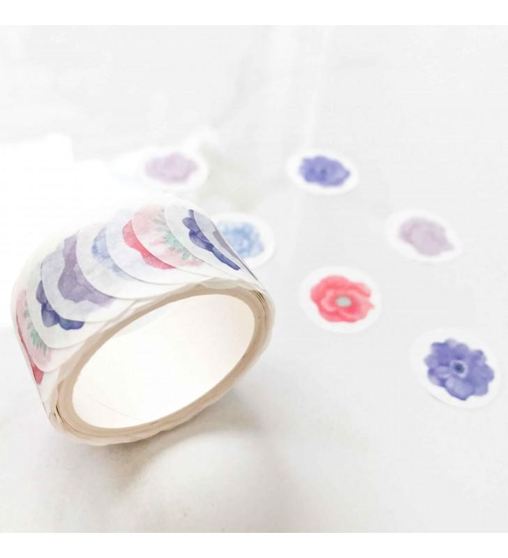 """Ролл с наклейками """"Цветы"""" голубые"""