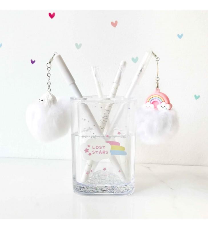 """Подставка для ручек """"Rainbow and unicorn"""" white"""