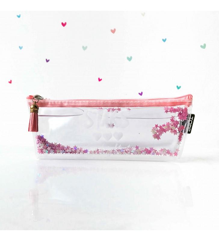 "Пенал с жидкостью ""Full of glitter"" pink"