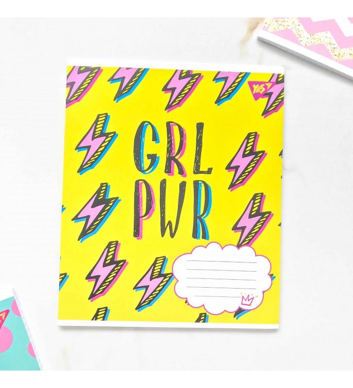 """Тетрадь #48 """"Girl power"""" желтый"""