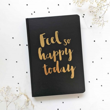 """Блокнот """"Simple"""" feel so happy today с черными страницами"""