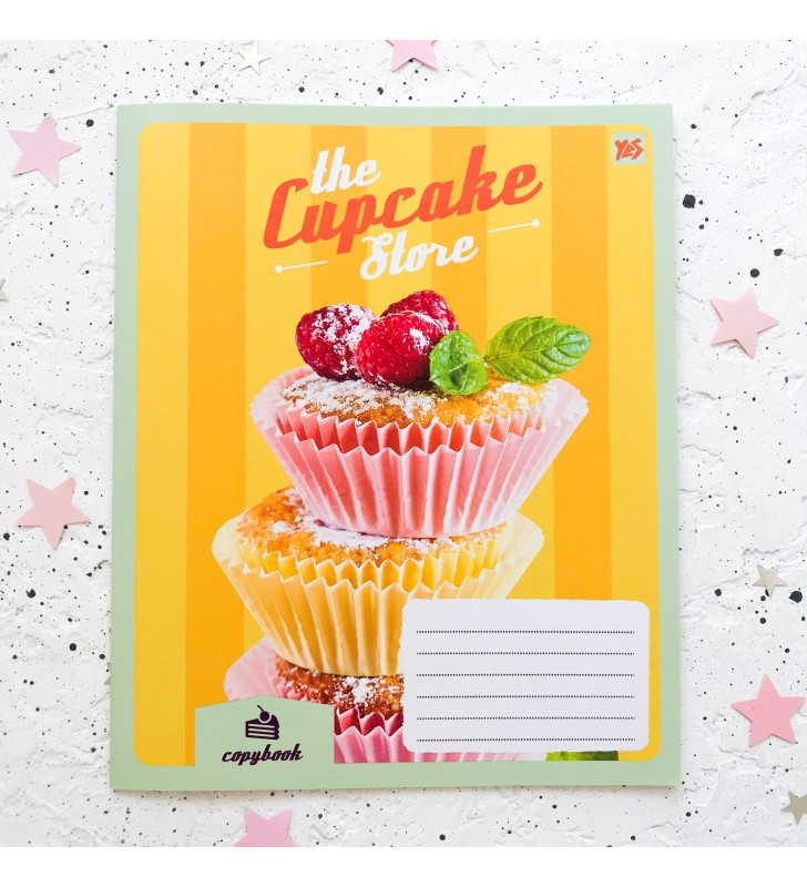 "Тетрадь #18 ""Cupcake store"" cupcakes yellow"